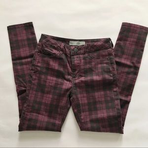 Topshop Moto Leigh plaid jeans 25/30